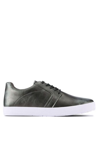 ZALORA silver Brushed Faux Leather Causal Sneakers C8203SH7B28672GS_1