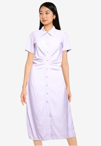 ZALORA BASICS purple Scrunched Detail Shirt Dress E7429AAC7464EFGS_1