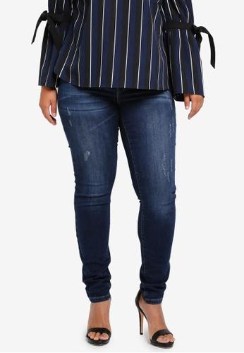 Junarose blue Plus Size Slim Dark Blue Jeans JU731AA0ST1HMY_1