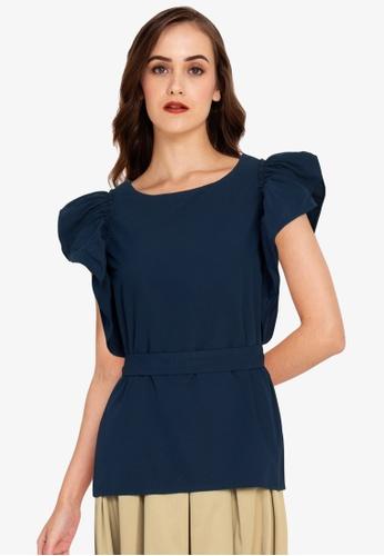ZALORA WORK blue Ruffle Sleeves Top 5584DAA4CD7F56GS_1