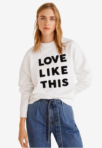 Mango white Love Message Sweatshirt 191B5AAF94DA96GS_1