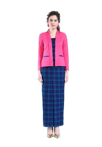 Alyssum Pink Tartan Kebaya Blazer from Hernani in Pink and Blue