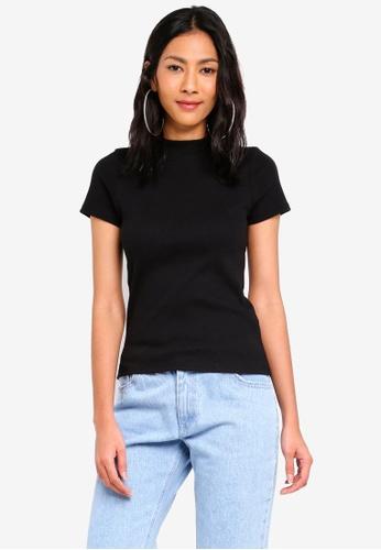 Factorie black Short Sleeve Ribbed Tshirt E2D43AAD5761E3GS_1