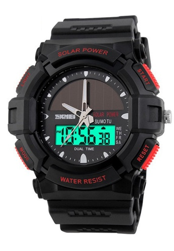 Skmei red SKMEI 1050 Men's Military Solar Power LED Sports Watch (Red) SK707AC0RXNUMY_1
