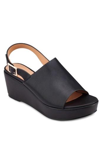 寬帶zalora開箱繞踝厚底楔形涼鞋, 女鞋, 鞋