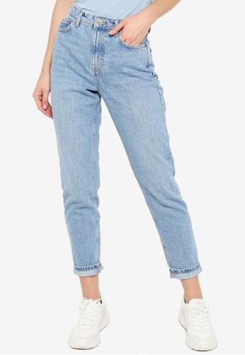 TOPSHOP blue Bleach Mom Tapered Jeans A22B8AA2C0B8A3GS_1