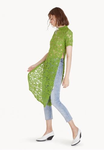 Pomelo green Sheer Lace Long Slit Blouse - Green DDBB7AA72DBC60GS_1