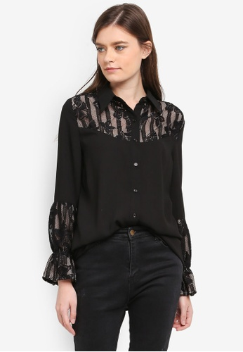 Zalia black Lace Piece Shirt C288DAA531CBF8GS_1