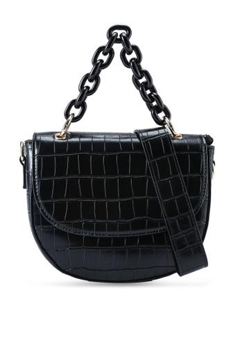 Red's Revenge black Cara Croc Chain Link Top Handle Bag A9E0CACD0D8243GS_1
