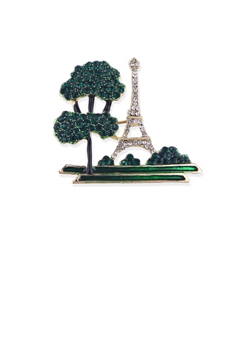 Glamorousky white Fashion and Elegant Plated Gold Pine Tower Brooch with Cubic Zirconia 14AA4AC4234FEEGS_1