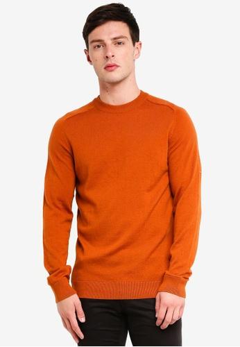 Selected Homme 褐色 素色長袖針織毛衣 B9574AAB1B3207GS_1