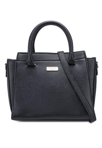 Unisa black Saffiano Convertible Top Handle Bag 925FEAC3519B08GS_1