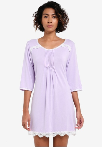 Impression purple Cotton Nightdress IM679AA0RTZMMY_1
