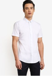 ZALORA white Slim Fit Cotton Poplin Short Sleeve Shirt 4D88AAAB6B6EB5GS_1