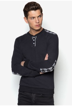 Sweatshirt with Buttons Details & Elbow Patch