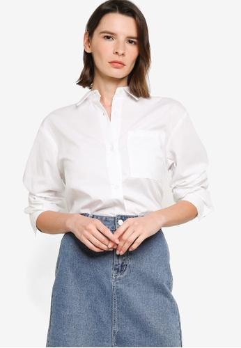 H&M white Oversized Cotton Shirt D9E58AAB7AD3F6GS_1