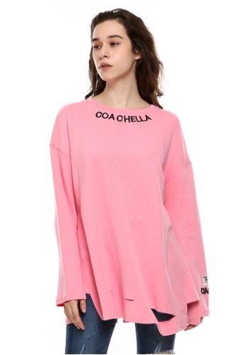 BLYTHÉ pink 8883 Coachella Oversized Ripped Tee DD1BAAADECA85BGS_1