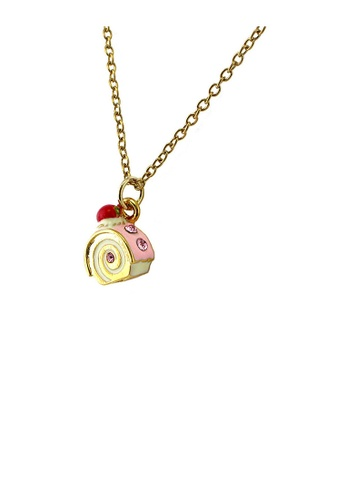 Glamorousky pink Glistering Roll Cake Pendant with Pink CZ and Necklace 7106DAC0DB74D1GS_1