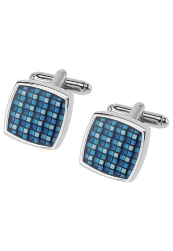 CUFF IT blue Blue Checker Enamel Cufflinks CU047AC2UQQ6HK_1