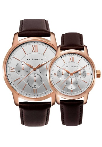 Aries Gold brown Aries Gold Couple Set -  Eternal G 1027 & L 1028 RG-S White, Rose Gold and Brown Leather Watch 70F4BACFEAD81FGS_1