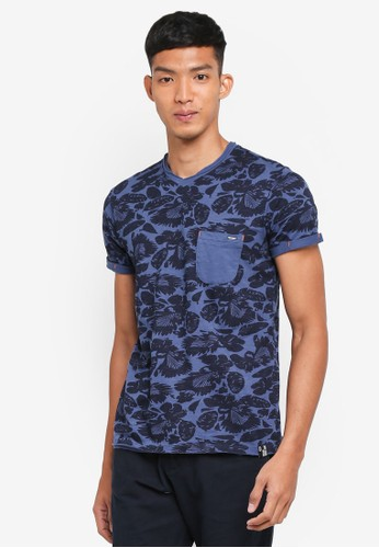 Indicode Jeans blue Gatineau Printed Washed T-Shirt 7D4BFAAE49D80AGS_1