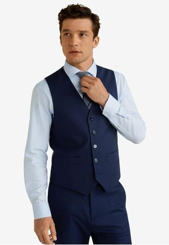 MANGO Man 藍色 修身Fit Suit Gilet 6BD41AA63EA2C2GS_1