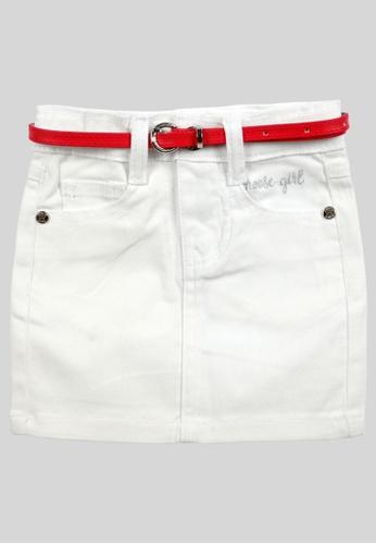 MOOSE GIRL white Plain Mini Skirt For Girls With Logo Embroidery A70DCKAE96ED16GS_1