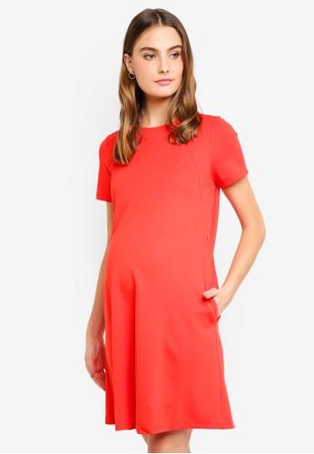 Spring Maternity orange Maternity Short Sleeves Cynthia Dress D6197AADAD5B6FGS_1