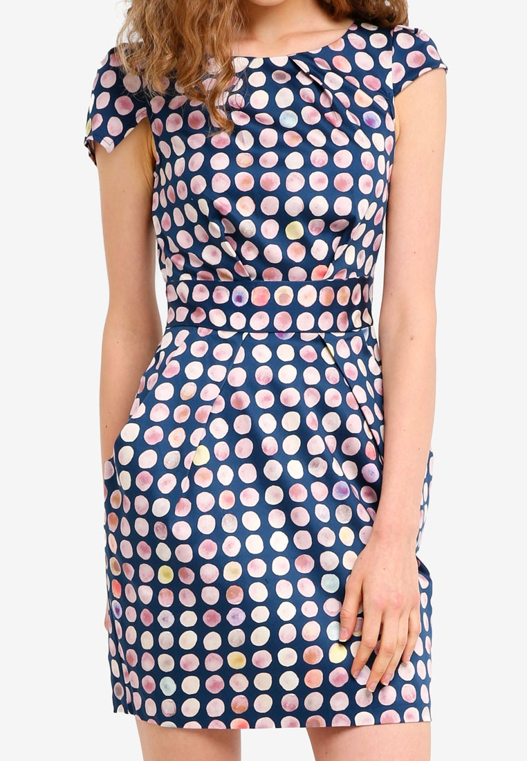 Navy Tulip CLOSET Dress Back Tie qxIwFCa8