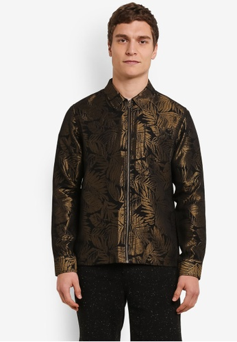 Topman gold Leaf Print Shirt TO413AA0S7Z0MY_1