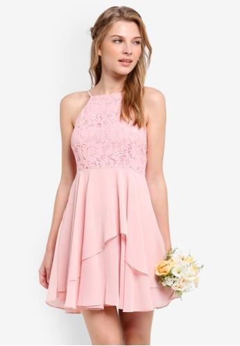 ZALORA pink Bridesmaid Lace Bodice Fit & Flare Dress F616AAAB9F8B10GS_1