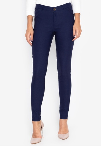 Well Suited blue Chic Skinny Cigarette Trousers D1AE5AAB4B3F82GS_1