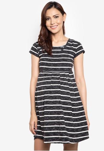 Mamaway black Stripes Maternity and Nursing Tea Dress MA263AA33TFUPH_1