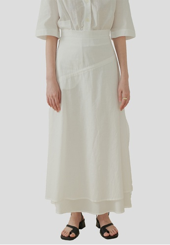 We Enjoy Simplicity white Beth Layered Linen Long Skirt (Daisy White) 048D5AAD8344EAGS_1