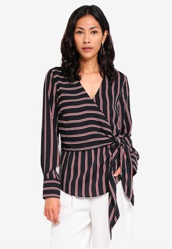 e823189789ecb Shop WAREHOUSE Stripe Long Sleeve Wrap Top Online on ZALORA Philippines