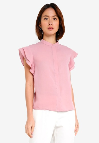 ZALORA BASICS pink Flare Sleeves Button Front Top ADD30AAD28EAACGS_1