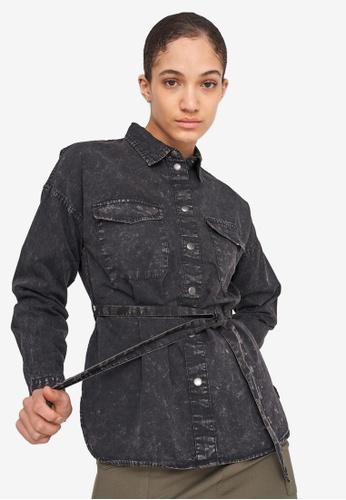 Noisy May black Sandra Long Sleeve Belted Shirt 3EBB5AA93914EAGS_1