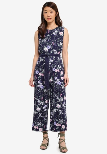 Dorothy Perkins navy Petite Navy Floral Print Jumpsuit 5B809AAA4CE0E3GS_1