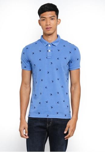 Superdry 藍色 短袖印花POLO衫 F78EAAACE99593GS_1