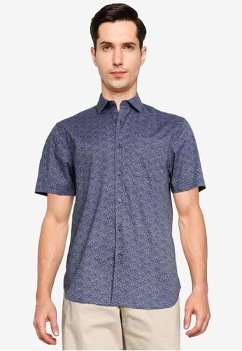 Electro Denim Lab blue Printed Shirt F7691AAFBF2332GS_1