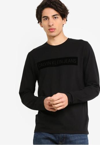 Calvin Klein 黑色 長袖Institutional LOGO修身T恤 - Calvin Klein 牛仔褲 2780DAA00025E4GS_1