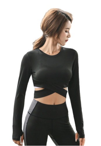B-Code black ZYG3012-Lady Quick Drying Running Fitness Yoga Sports Top -Black 7165DAA1BC8370GS_1
