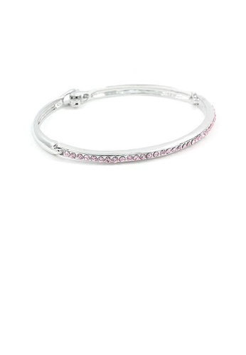 Glamorousky pink Elegant Bangle with Pink Austrian Element Crystals 4D3F6AC24C5D7EGS_1