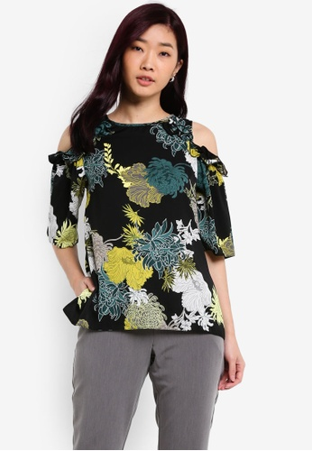 Dorothy Perkins black and multi Floral Cold Shoulder Blouse DO816AA0RQTYMY_1