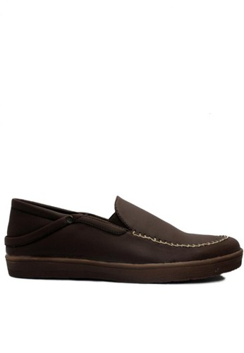 D-Island brown D-Island Shoes Slip On British Comfort Leather Dark Brown DI594SH53OBIID_1