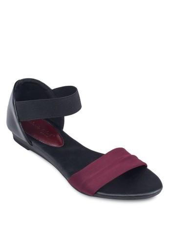 撞色一字帶繞踝esprit au涼鞋, 女鞋, 鞋