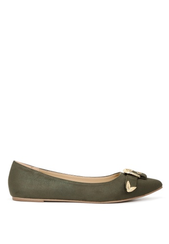 London Rag green Khaki Flat Ballerinas with Gold Buckle SH1702 3D9DASH29A10ABGS_1