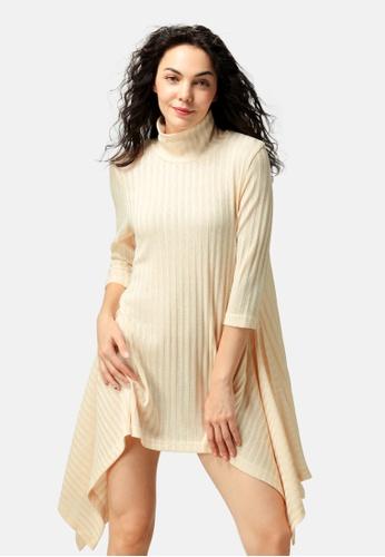 London Rag beige Long Sleeve Irregular Hem Sweater Dress AEF98AAC94DF1EGS_1
