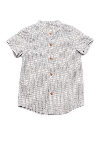 Mini Moley beige Oriental Motif Print Mandarin Collar Boy's Short Sleeve Shirt B1B8AKAC901CAAGS_1