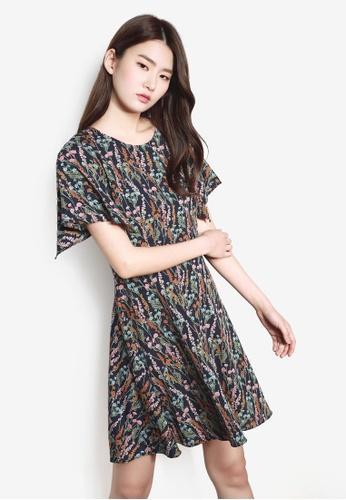 NAIN navy Flare Printed Dress 209A2AAD880E6CGS_1
